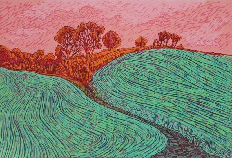 Bryan Whiteley, 'Ranks Green', linocut print