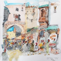 doug-patterson-marrakesh-morroco-watercolour-on-paper-24x24cm