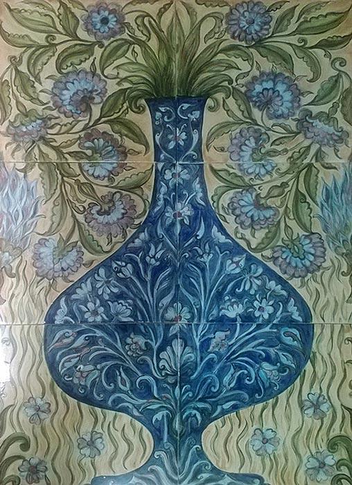 Painted glazed ceramic tiles