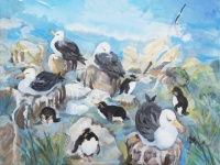 kit-price-moss-albatross-and-penguins-communal-living-acrylic-on-board-40x50cm