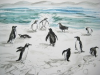 kit-price-moss-penguins-busy-on-the-beach-ink-and-watercolour-42x67cm