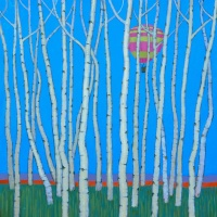 roger-gamble-birches-and-balloons-acrylic-on-canvas-80x80cm-2017