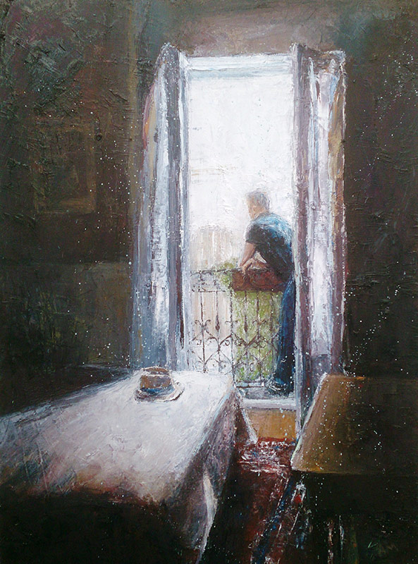 Annabel Mednick, Balcony View, oil on-canvas, 76x101cm