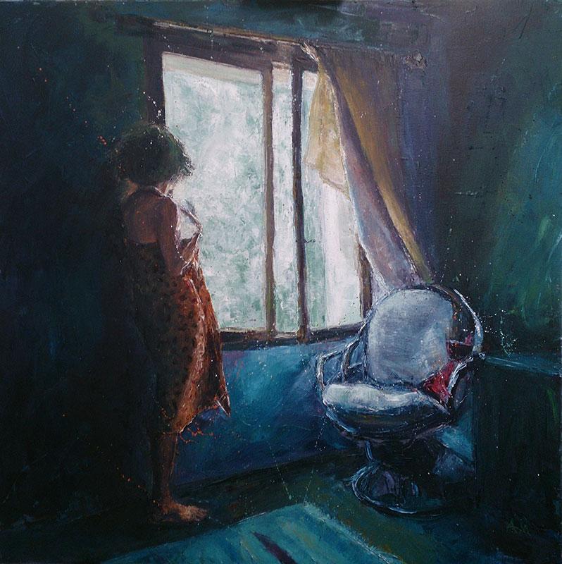 Annabel Mednick, Orange Sarong, oil on canvas, 90x90cm