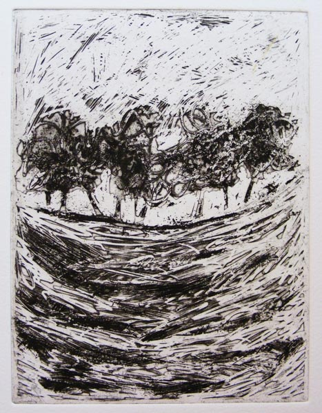 Annie Brundrit, Tell Tale Hill, etching on paper, 2015