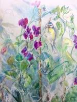 kit-price-moss-sweetpeas-blue-tit-painting